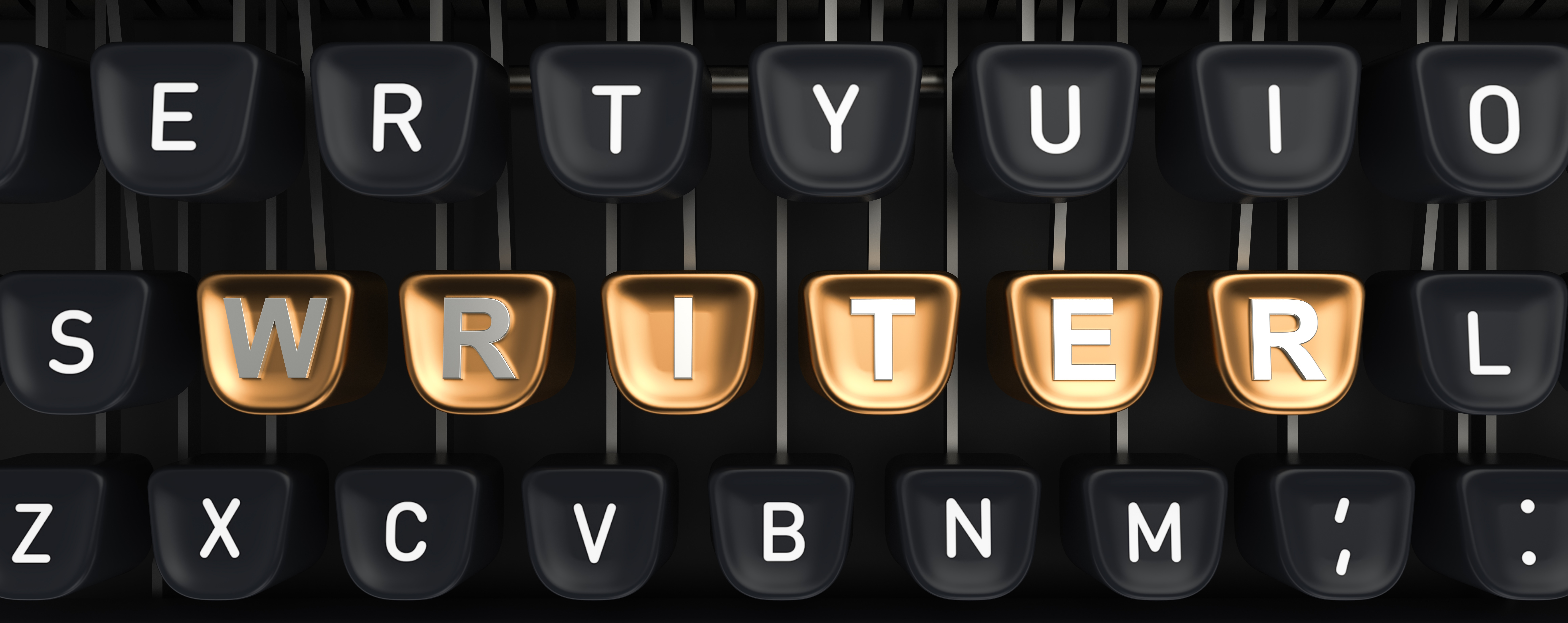 Typewriter with gold buttons in a row, assembling WRITER word